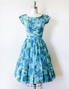 floral chiffon dress vintage 50s floral dress by RustBeltThreads
