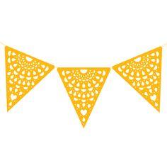 Cordão de Bandeirinhas Rendadas Amarela