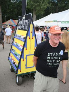 #StampStampede, an initiative by Ben & Jerry's Ben Cohen to take money out of politics, traveled to the GrassRoots festival to spread their word.