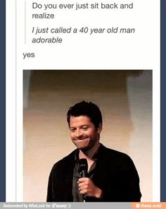 """Misha Collins and David Tennant, I saw a picture of ten and I whispered, """"you're old enough to be my dad David."""""""
