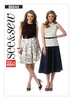 Butterick See and Sew B6044 Misses' Flared Gore Skirts