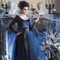 Black Sparkle Tulle Skirt with Satin Sash...Gothic Glam