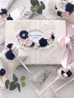 Navy Blue Guest Book Wedding Blush Pink and Navy Guest Book Idea Wedding Guest Book and Pen Personalised Navy Wedding Decor Custom Colors