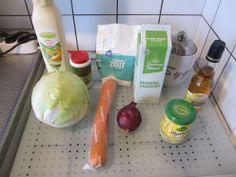 Witte kool salade met wortel, mayo en yoghurt  http://missglutenvrij.nl/2013/01/06/heerlijke-witte-kool-salade/