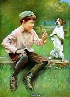 Print Portrait c19th Victorian School Boy Teach Tricks Jack Russell Terrier Dog #Realism