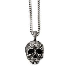 Men's Stainless Steel Antiqued Skull Pendant Necklace Men's Jewelry Available Exclusively at Gemologica.com
