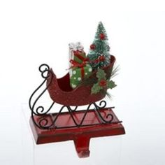 """7"""" Red Glitter Sleigh with Gifts and Tree Christmas Stocking Holder - 30929582"""