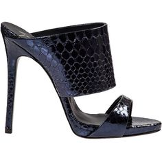 GIUSEPPE ZANOTTI Metallic Embossed Mule Navy Snake (£195) ❤ liked on Polyvore featuring shoes, sandals, platform sandals, leather platform sandals, platform shoes, giuseppe zanotti sandals and navy high heel sandals