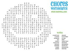 Chores wordsearch | Free printable downloads from ChoreTell