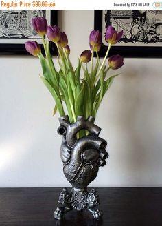 ON SALE Anatomical Heart Vase Pewter Finish by Dellamorteco