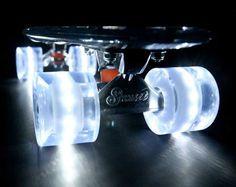 No matter how lame your tricks are you're guaranteed to turn heads when you ride around on the light up poly-carbonate skateboard. Ultra bright LED wheels combine with a specialized clear poly-carbonate deck to create the ultimate night riding skateboard. Skateboard Wheels, Skateboard Design, Skateboard Decks, Penny Skateboard, Motorized Skateboard, Skate Wheels, Electric Skateboard, Skate Longboard, Skate Surf