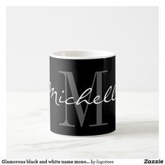 Glamorous black and white name monogram coffee mug. Design your own personalized cups. Pretty typography Birthday or wedding favor gift idea for men, women, kids, friends and family. Personalized Mason Jars, Mason Jar Gifts, Personalized Coffee Mugs, Diy Mugs, Personalised Gifts, Wine Wedding Favors, Monogram Coffee Mug, White Names, Coffee Gifts