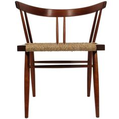 "sedia ""Grass-seated Chair"" '60 (70x61x51 legno di ciliegio e noce, corda) George Nakashima (Spokane, Washington 1905 - New Hope, Pennsylvania 1990)"