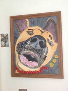 My Pet Buddy - painted from a photo and embellished with glass fusion pieces for accents by BreCz 1/2013