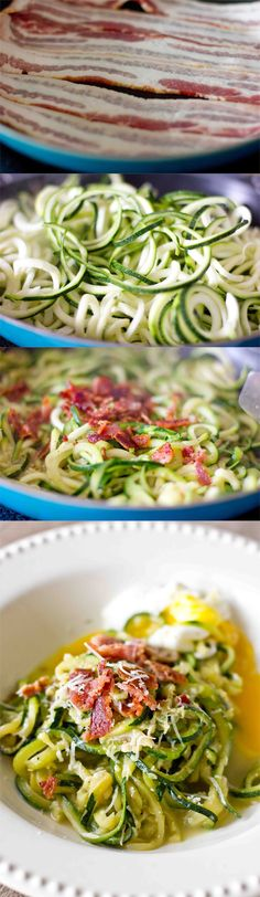 low carb carbonara- get in my belly! This recipe takes only 15 minutes and is SO delicious!