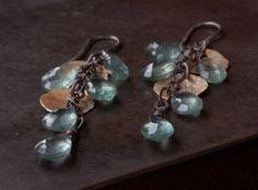 Moss Aquamarine Cascade Petal Earrings by LexLuxe on Etsy