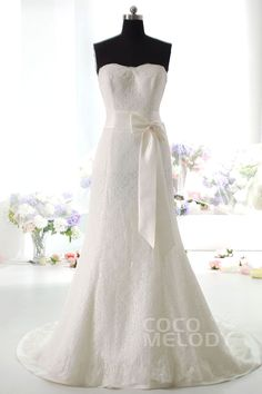 Impressive+Sheath-Column+Sweetheart+Natural+Train+Lace+Ivory+Sleeveless+Lace+Up-Corset+Wedding+Dress+with+Ribbons+HS9671