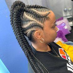 Braided Ponytail Black Hair, Braided Ponytail Hairstyles, Braided Hairstyles For Black Women, Baddie Hairstyles, African Braids Hairstyles, Braids For Black Hair, Teen Hairstyles, Braid Ponytail, Black Hairstyles