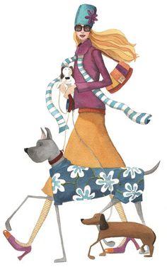 Monica Carretero: walking with dogs / fashion illustration
