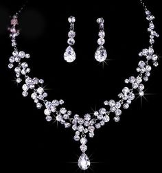 CAFA Bridal Wedding Jewelry Set Crystal Rhinestone Link Chain Teardrop