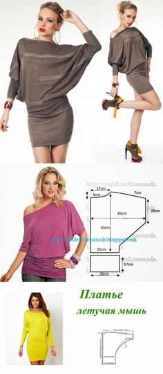 Dress with a sleeve \'Bat\' in a couple of hours // Taika Look Fashion, Diy Fashion, Ideias Fashion, Fashion Outfits, Blouse Patterns, Clothing Patterns, Blouse Designs, Sewing Blouses, Dress Making Patterns