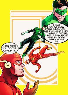 Hal Jordan (aka Green Lantern) and Barry Allen (aka The Flash)