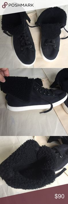 NWOT Cole Haan Raven High Top Sheep Sneakers Gorgeous suede exterior with real wool on the inside. Sheep. High top sneakers. Perfect condition. Fold over and lace up. Extremely comfortable!   🌟same or next day shipping on all orders (except weekends)🌟make me an offer!🌟 Cole Haan Shoes Sneakers
