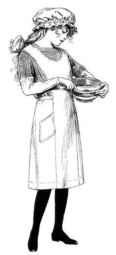 Antique clip art - girl cooking