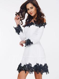 Slash Neck Lace Patchwork Floral A-Line Women's Day Dress