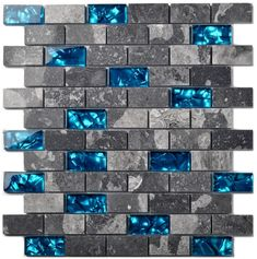 Ocean Teal Blue Glass Nature Stone Tile Kitchen Backsplash Bath Shower Accent Wall Decor Gray Wave Marble 1 x 2 Subway Art Mosaics 11 PCS *** Check out the image by visiting the link. (This is an affiliate link and I receive a commission for the sales) Marble Mosaic, Mosaic Art, Mosaic Glass, Mosaic Tiles, Backsplash Tile, Backsplash Ideas, Glass Tiles, Accent Wall Decor, Tile Suppliers