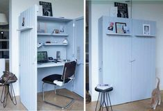 DIY computerkast van Karwei Home Office Furniture, Furniture Design, Sewing Cabinet, Small Home Offices, Cubicle, Home Office Design, Home Projects, Shelving, Small Spaces