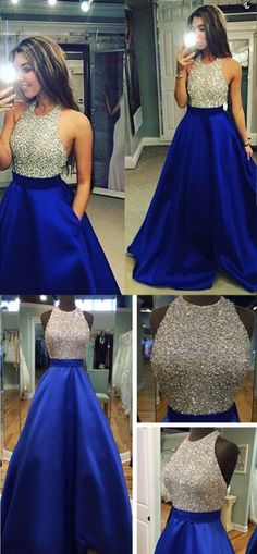 A-Line Halter Backless Floor-Length Royal Blue Satin Prom Dresses with Beading Prom Dresses Long, Prom Dress, Prom Dresses Blue, Prom Dresses A-Line, Prom Dresses Backless Prom Dresses 2019 Sparkly Prom Dresses, Royal Blue Prom Dresses, Prom Dresses 2017, Beaded Prom Dress, Backless Prom Dresses, A Line Prom Dresses, Pretty Dresses, Sexy Dresses, Dress Prom