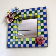 Flower Embellished Mosaic Frame with Mirror-mosaic art-bedroom