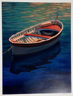 "For Sale on - ""Harbor Rainbow"" Colorful Boat With Deep Blue Water Reflections Serigraph, Screen Print by Tom Swimm. Landscape Prints, Landscape Paintings, Plywood Boat Plans, Lakefront Property, Boat Painting, Jon Boat, Water Reflections, Boat Rental, Boat Tours"