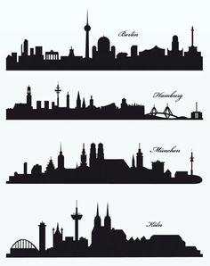 Die Skylines der deutschen Städte Berlin, Hamburg, München und Köln