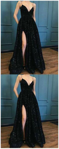Black Sequins Prom Dress,Fashion Luxury Prom Dress,Sexy prom Dress,Lace Prom Dress ,Special Occasions Dresses by prom dresses, $178.00 USD