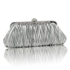 ba8560275f Fashion Road Womens Satin Pleated Evening Clutch Bags Purse Wedding  Cocktail Party Handbags Silver **