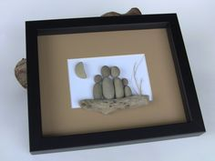 CUSTOM Family Beach Stone Pebble Art Picture by PebbleCreationz. Handmade item Materials: coloured mat frame, white mat board, black shadow box, glue, log, twig, beach stones