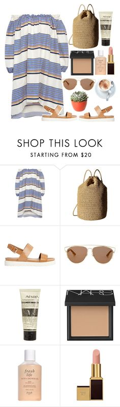 """""""👝"""" by burcaak ❤ liked on Polyvore featuring Tanya Taylor, Hat Attack, ALDO, Christian Dior, Aesop, NARS Cosmetics, Fresh, Tom Ford, PLANT and dress"""