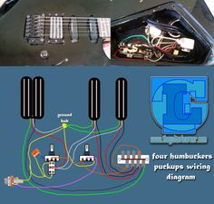four humbuckers pickup wiring diagram – all hotrails and quadrail