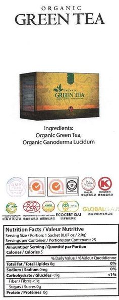 Organic Green Tea The exceptionally smooth and flavorful character of Green Tea combined with the healthy benefits of Organic Ganoderma provides a drink rich with anti-oxidants. Healthy Drinks, Healthy Gourmet, Valeur Nutritive, Organic Green Tea, Serving Size, Drinking Tea, Healthy Choices, Hot Chocolate, Tea Latte