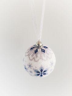 "Bead Crochet Christmas Ornament ""Snowflakes"" Made-to-Order Beaded Ornament Covers, Beaded Ornaments, Crochet Christmas Ornaments, Holiday Ornaments, Seed Bead Jewelry, Beaded Jewelry, Beaded Boxes, Bead Crochet, Crochet Ball"