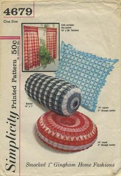 """Vintage Sewing Pattern for Smocked Pillows and Smocked Cafe Curtains   Simplicity 4679   Year 196?   Curtains 18"""" (at smocked area) x 30""""   Bolster 14""""   Round 14""""   Square 14"""""""