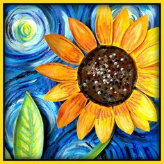 This project helps you discover two different paintings by Vincent Van Gogh: ''Starry Night'' and ''Sunflowers Vincent Van Gogh, Spring Art Projects, Unique Art Projects, Starry Night Art, Kindergarten Art Projects, Van Gogh Art, Sunflower Art, Art Lessons For Kids, Spring Painting