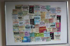 Ticket stub collage