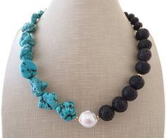 Turquoise necklace black lava necklace chunky by Sofiasbijoux
