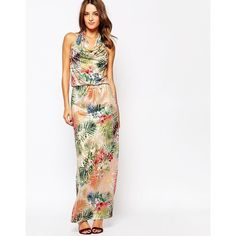 Amy Childs Liberty Tropical Maxi Dress (50 AUD) ❤ liked on Polyvore featuring dresses, multi, halter top maxi dress, halter neck maxi dress, open back maxi dress, white open back dress and halter dress