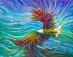 The energy art store by julia watkins - spirit eagle energy Eagle Painting, Yarn Painting, Eagle Artwork, Prophetic Art, Art Store, Fractal Art, Animal Paintings, Bird Art, Giclee Print