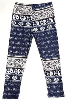 L4U Girls Royal Elephant Printed Pattern Fashion Leggings. Available in three sizes: S, M, and L.