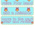 """Owl Themed """"help"""" cards to go with the CHAMPS system. Download the other corresponding cards for FREE :)... Owl Theme Classroom, Behavior Modification, Raise Your Hand, Classroom Management, Champs, Owls, School Stuff, Education, Learning"""